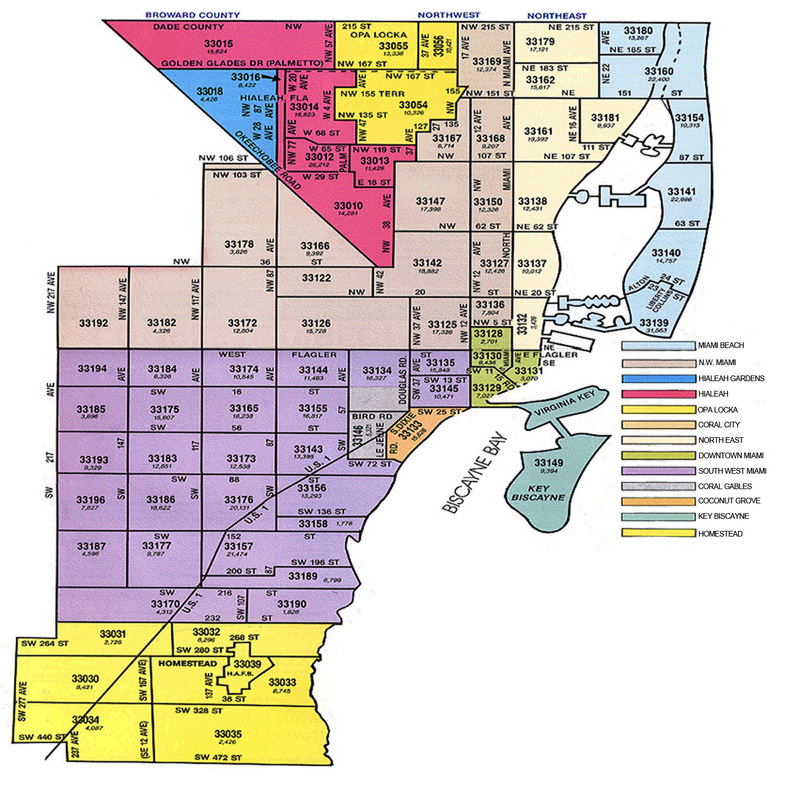 MIAMI DADE ZIP CODE MAP Mario Adler - Major cities in florida